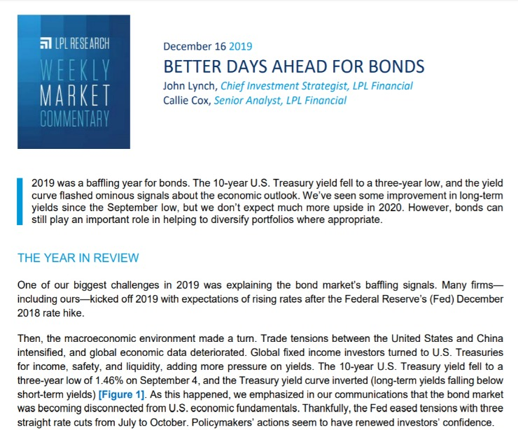 Better Days Ahead for Bonds | Weekly Market Commentary | December 16, 2019