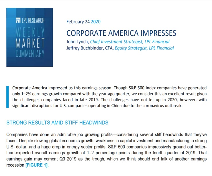 Corporate America Impresses   Weekly Market Commentary   February 24, 2020