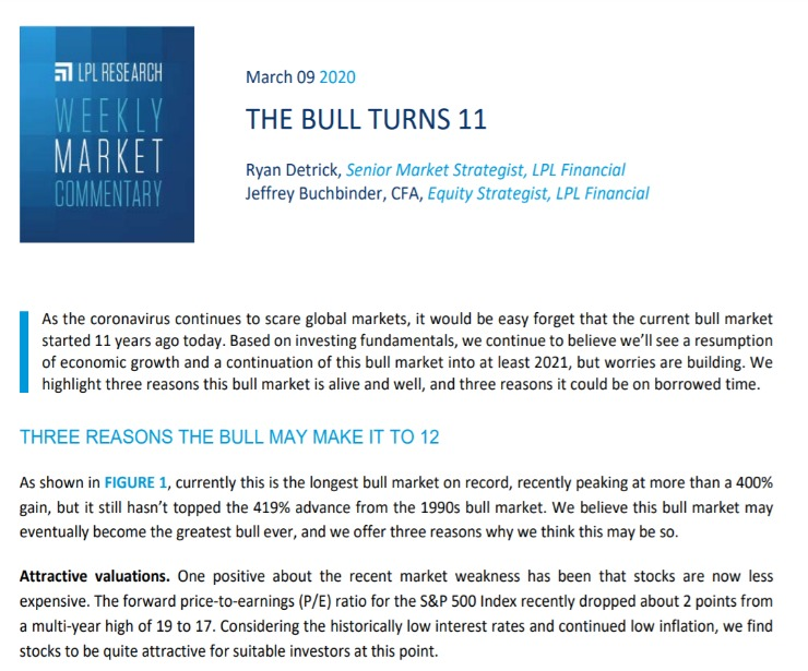 The Bull Turns 11   Weekly Market Commentary   March 9, 2020