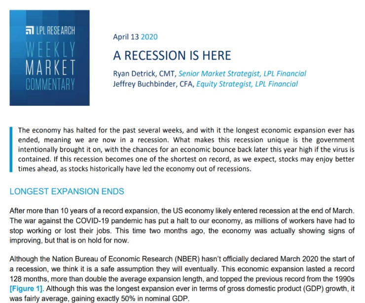 A Recession is Here | Weekly Market Commentary | April 13, 2020