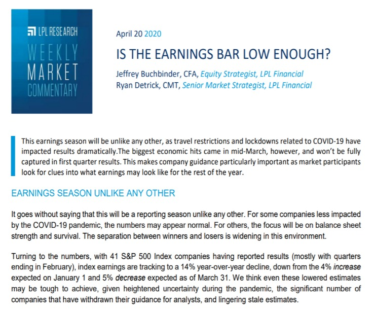 Is the Earnings Bar Low Enough?| Weekly Market Commentary | April 20, 2020
