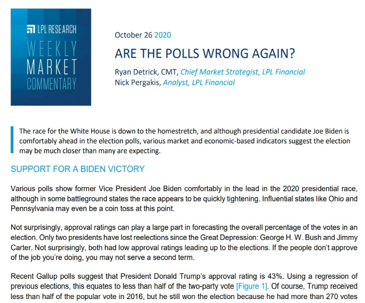 Are the Polls Wrong Again? | Weekly Market Commentary | October 26, 2020