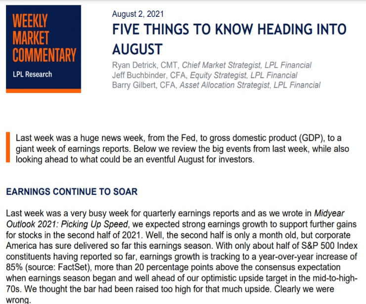 Five Things To Know Heading Into August   Weekly Market Commentary   August 2, 2021